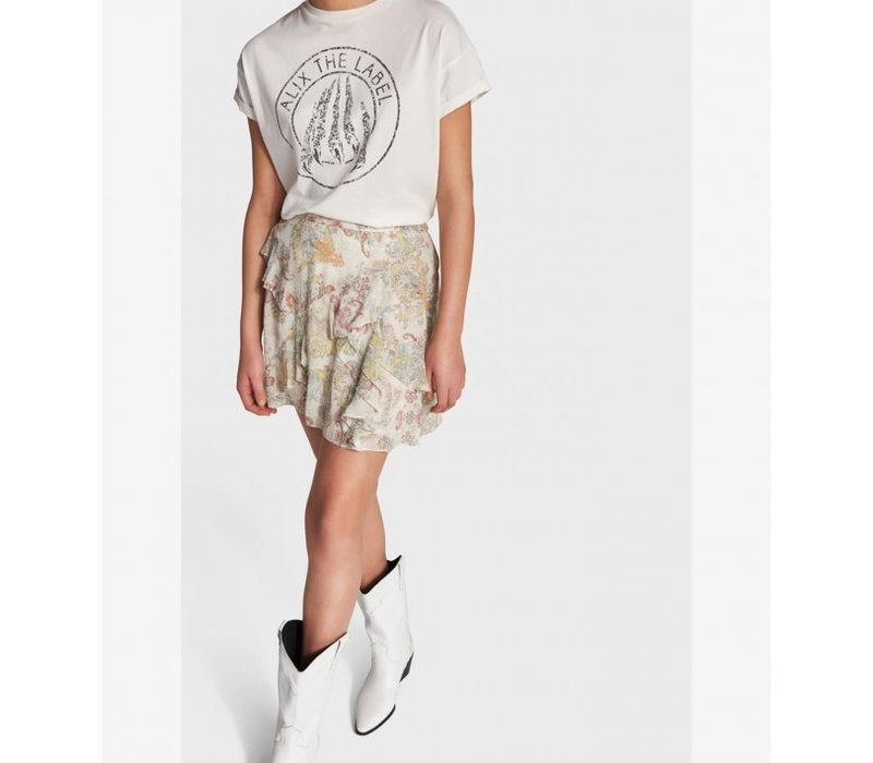 Alix Short paisley chiffon skirt