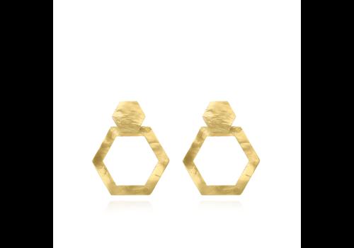 LOTT. GIOIELLI Lott.gioielli resin heaxagon open S oorbellen  Stand/gold S