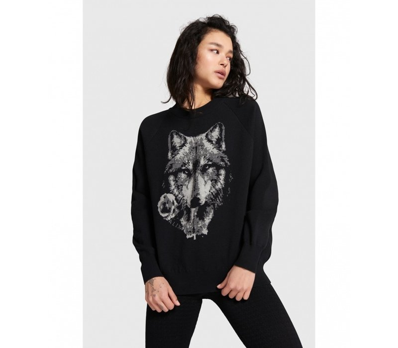 Alix the label pullover with wolves jacquard 207816815