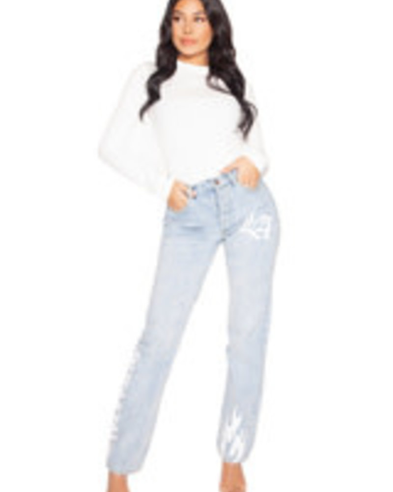 La Sisters La Sisters Graffiti Straight leg jeans
