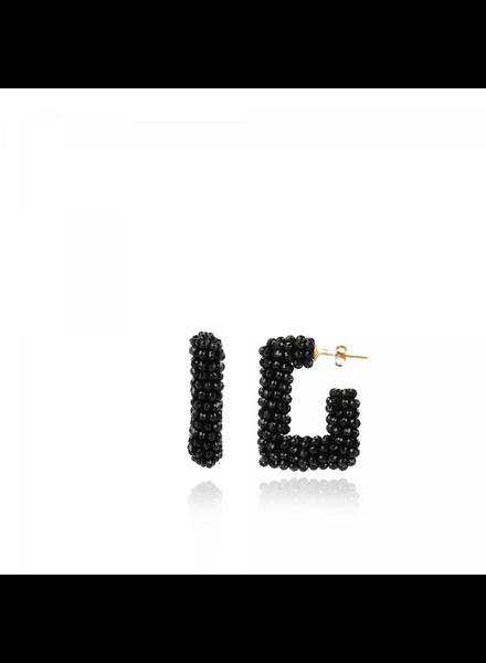 LOTT. GIOIELLI Lott Gioielli Roza zwarte glasberry creool square