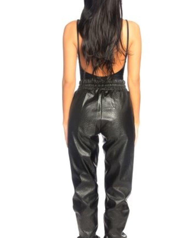 La Sisters La sisters snake faux leather jogging pants