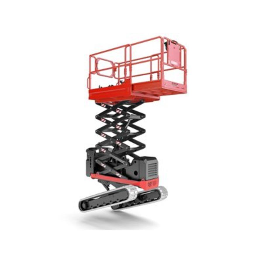 Rupsschaarlift met Zelfnivellerend rupsonderstel 7,9 meter huren