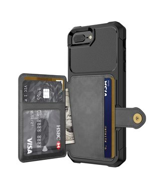 Just in Case Magnetic Card Holder Hybrid Case iPhone 8 / 7 / 6S / 6 Plus - Black