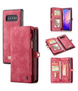CASEME CASEME Samsung Galaxy S10 Plus Vintage Portemonnee Hoesje - Red