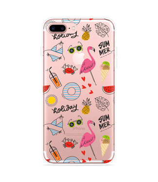 Just in Case iPhone 7 Plus Hoesje Summer Flamingo