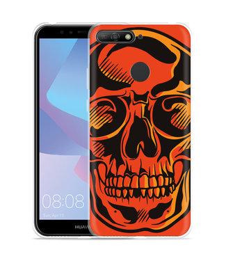 Just in Case Huawei Y6 2018 Hoesje Red Skull