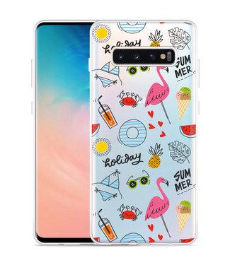 Just in Case Galaxy S10 Plus Hoesje Summer Flamingo