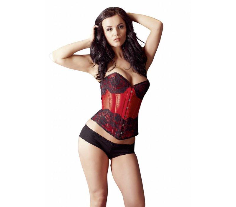 corset de satin rouge avec de la dentelle