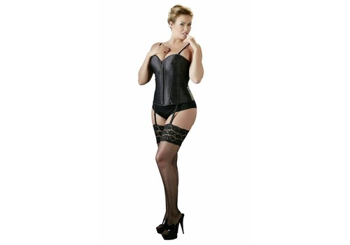 Cottelli Collection Black Plus Size Corset with Suspenders