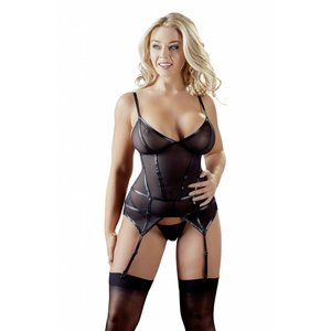 Cottelli Collection Wetlook Jarreteltop semi-transparant
