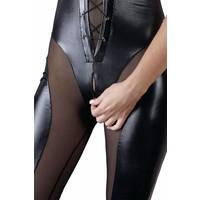Wetlook catsuit with zipper