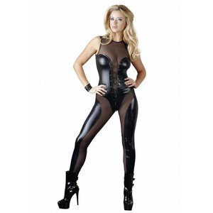 Cottelli Collection Zwarte wetlook catsuit met rits