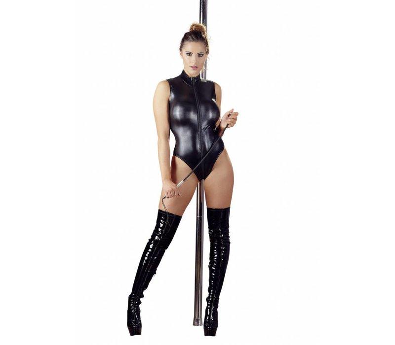 Black wet body with zipper