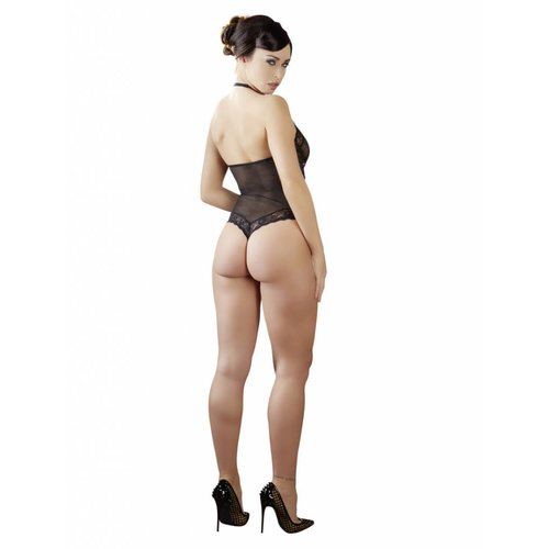 Abierta Fina Black thong body with open crotch