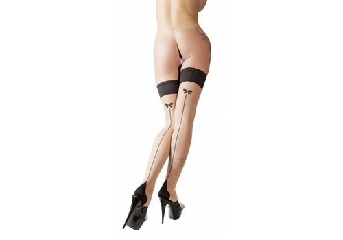 Cottelli Collection Black / color seam stockings with bow