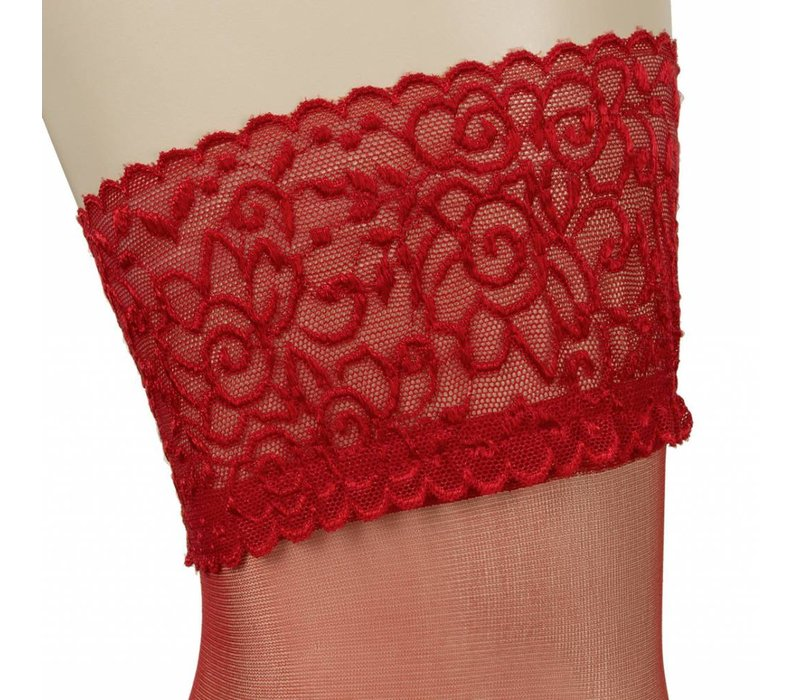 Red hold-ups with lace top