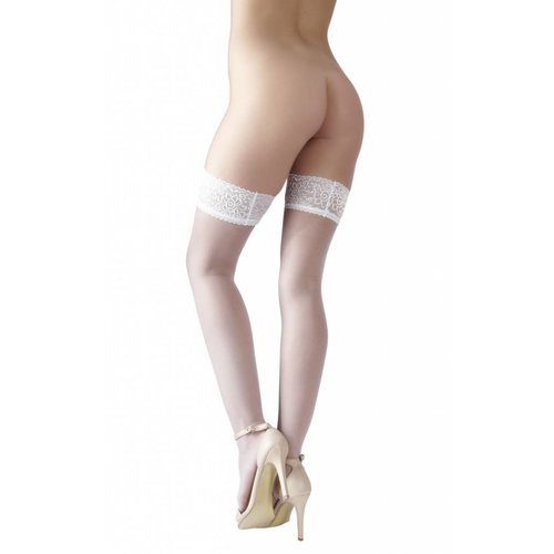 Cottelli Collection White hold-ups with lace top