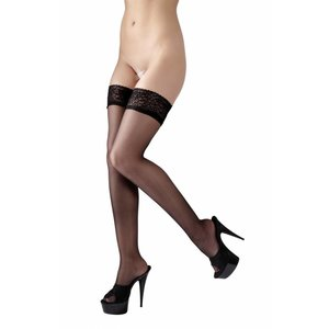 Cottelli Collection Black hold-ups with lace top