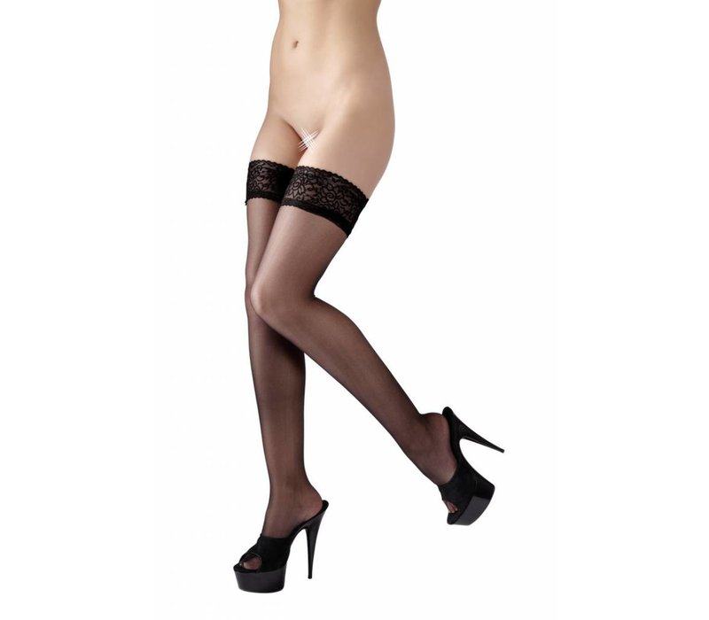Black hold-ups with lace top