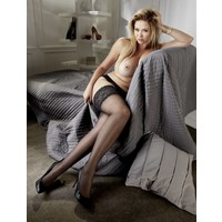 Plus Size Black hold ups with lace top