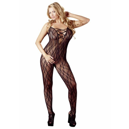 Mandy Mystery Lingerie Inviting crotchless catsuit with cleavage