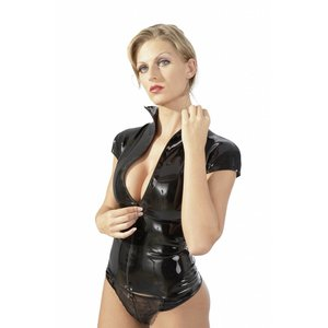 The Latex Collection Black rubber ladies shirt with zip