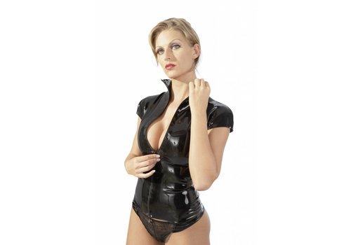The Latex Collection dames en caoutchouc noir chemise avec zip