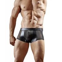 Zwarte wetlook boxer met halfdoorzichtig powernet Maat S