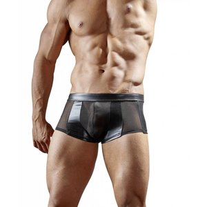 Svenjoyment Black wetlook boxer with semi-transparent power net Size S