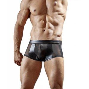 Svenjoyment Zwarte wetlook boxer met halfdoorzichtig powernet Maat S