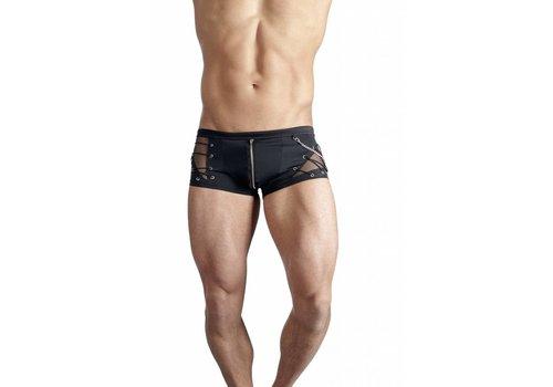 Svenjoyment Zwarte boxer met rits en visnet-structuur