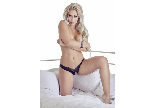 Cottelli Collection Black crotchless G-string with beads