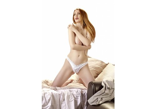 Cottelli Collection Witte open kruis G-string met parels