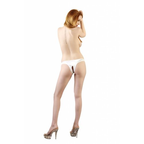 Cottelli Collection White open crotch thong with pearls