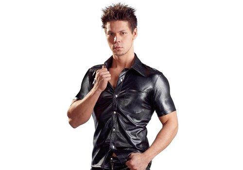 Svenjoyment chemise avec des boutons pour hommes en cuir Art