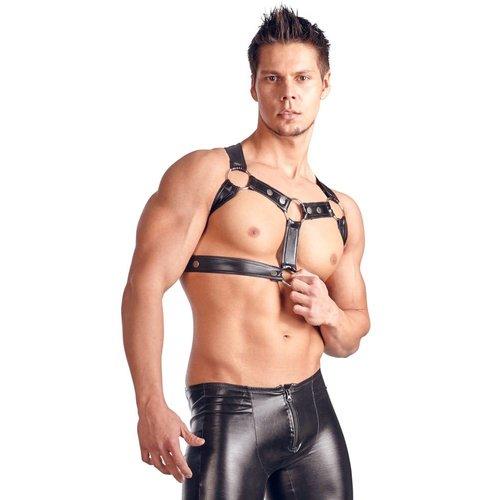 Svenjoyment Art Harnais de poitrine en cuir pour les hommes