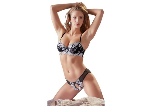 Cottelli Collection Black bra with crotchless briefs with white flowers