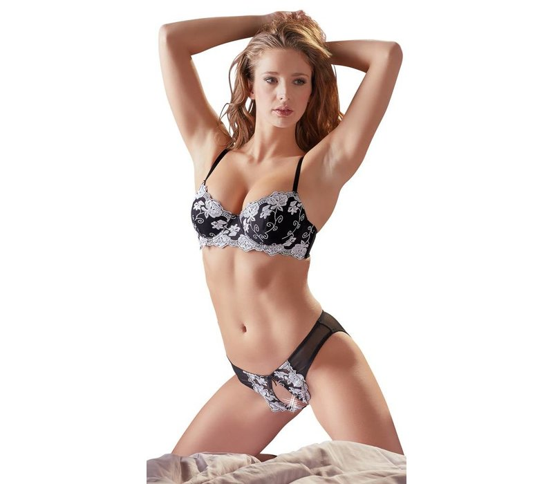 Black bra with crotchless briefs with white flowers