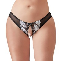 Crotchless briefs with white flowers
