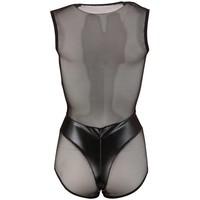 Black sleeveless wet look body