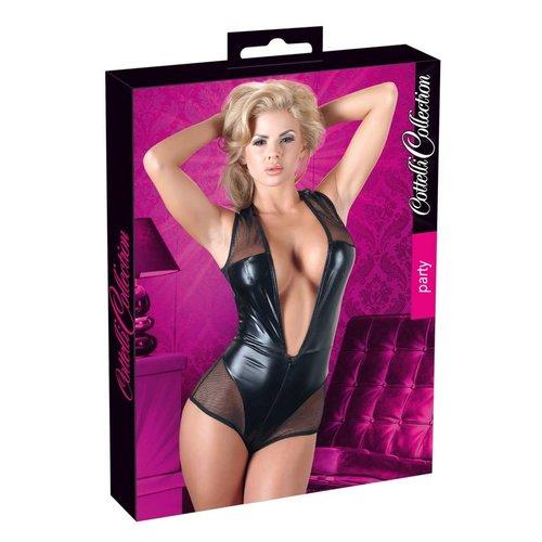 Cottelli Collection Black sleeveless wet look body