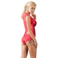 Red sleeveless wet look body