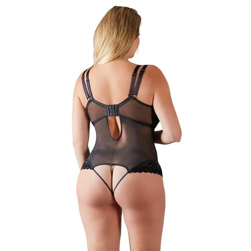 Cottelli Collection Erotic Black Body with removable cups / cross