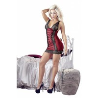 Night red dress with black lace