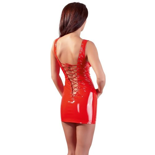 Black Level Sexy Red Lacquer Dress with low neckline