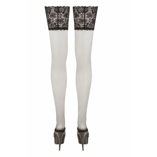 Cottelli Collection Plus Size Black hold ups with lace top