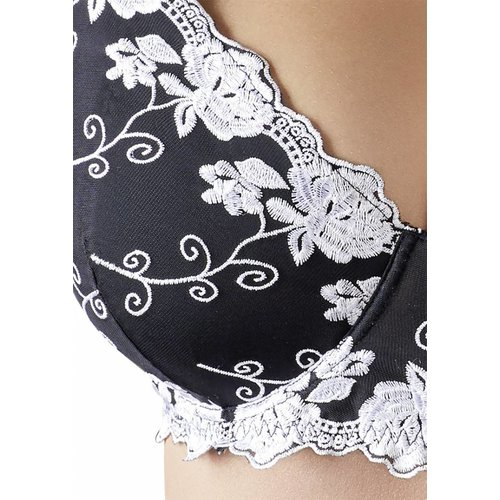 Cottelli Collection Black Bra with white decorations
