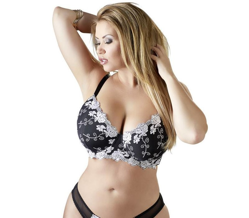 Black Bra with white decorations