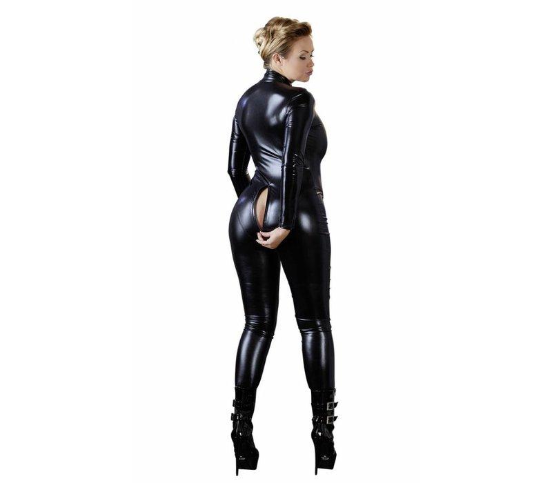 Wetlook jumpsuit with long sleeves